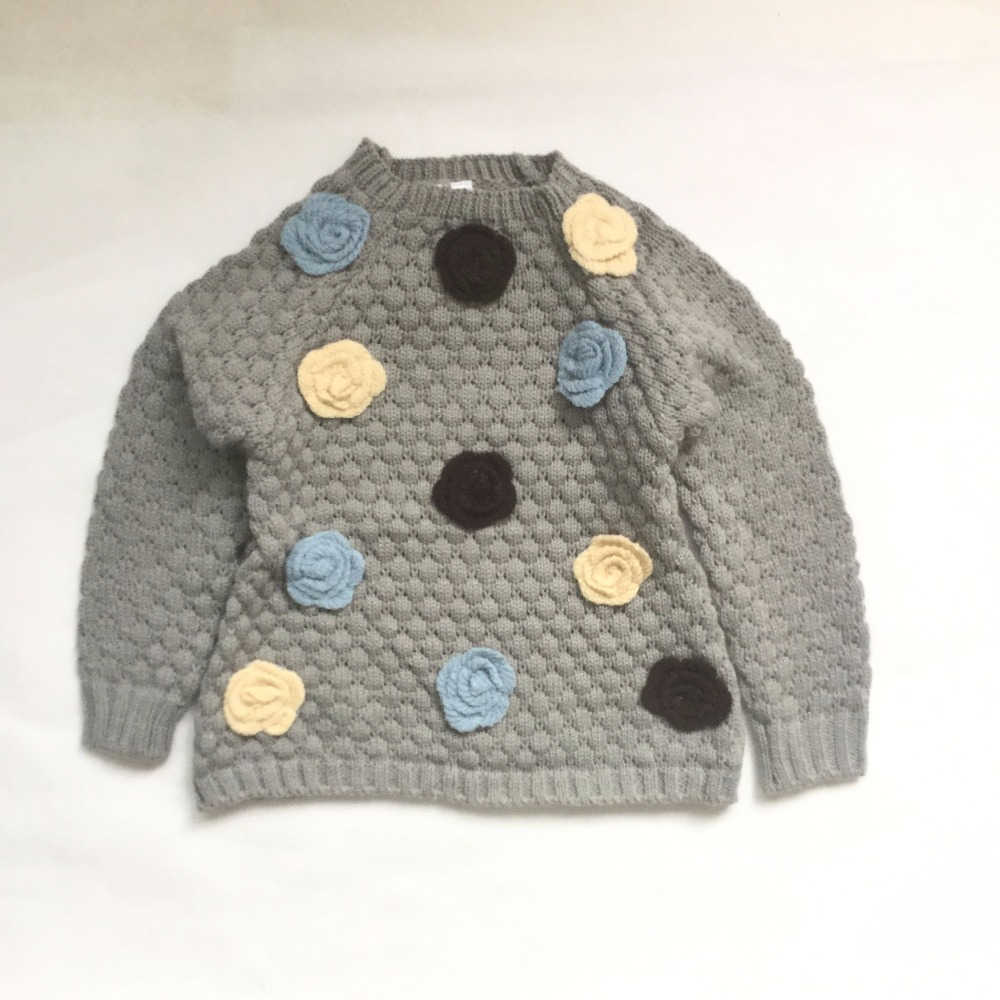 Baby Girls Sweater New Autumn Winter Kids bobo choses 3D Floral cotton Sweater Jumper For Girls Baby Fall Sweaters Clothing ...