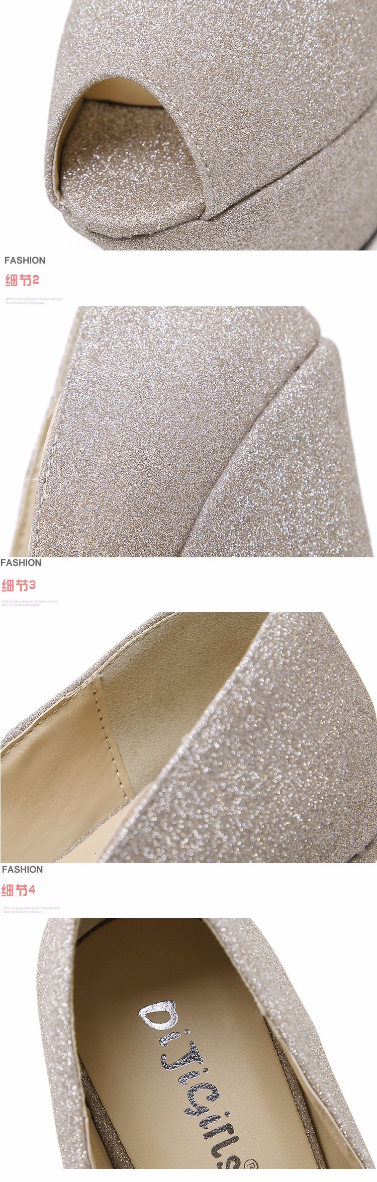 glitter shoes Platform shoes High Heels gold silver wedding Shoes peep toe High Heels Pumps Platform shoes Wedges pumps D925 6