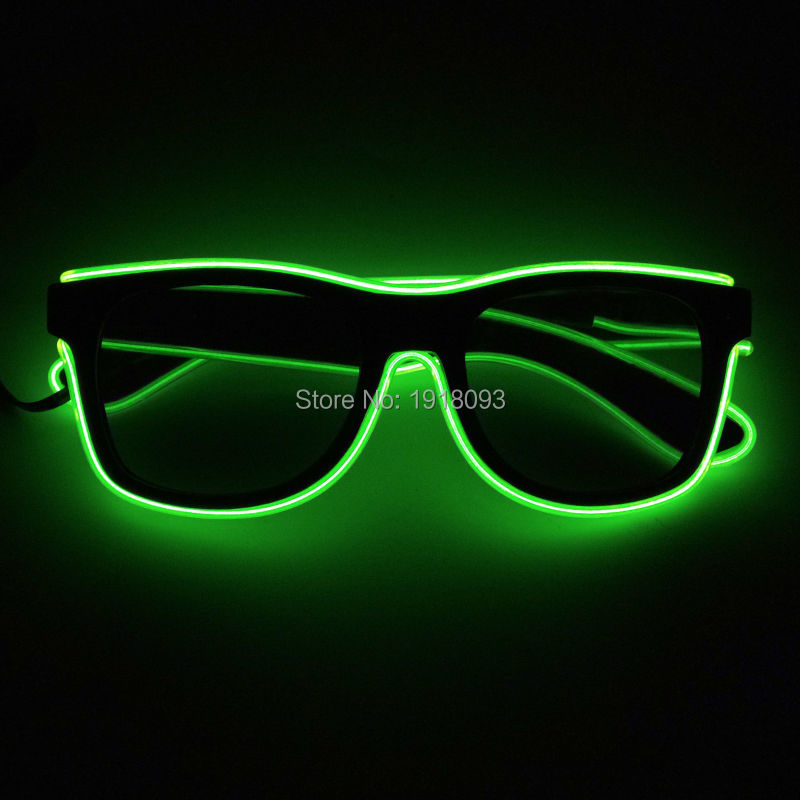 Newest Hot Sales DC-3V EL Wire Glowing Sunglasses with dark lens Bright Color Lemon green Novelty Lighting Decoration