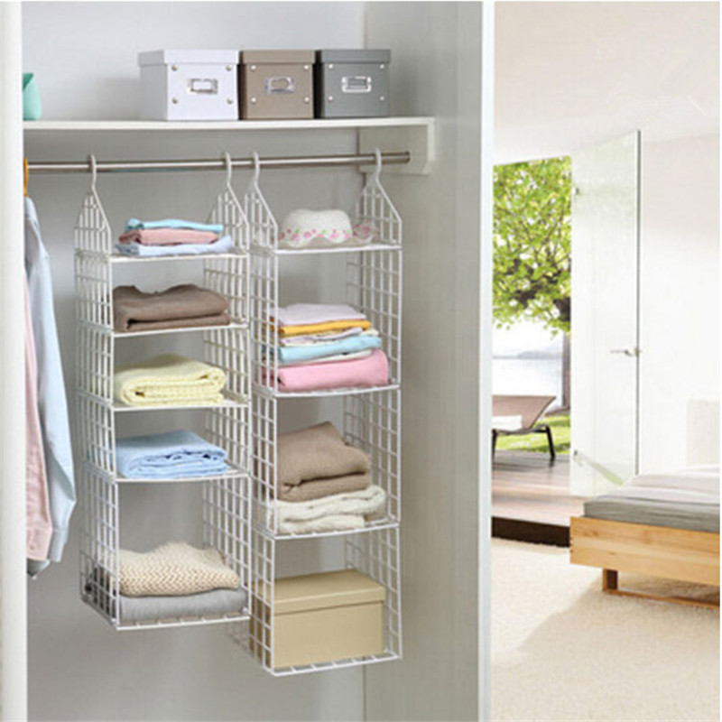 Folding Clothes Storage Racks Dormitory Closet for Students Wardrobe Shelves Hanging Organizer Plastic Storage Holders & Racks