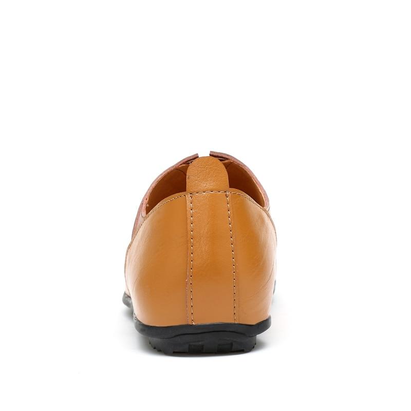 Chaussures Qualité Cuir Mode Hommes marron Noir Appartements Hollow Casual De Véritable Taille brown blanc Respirant black white Holllow En Hollow Grande Haute F6Ywqtn8