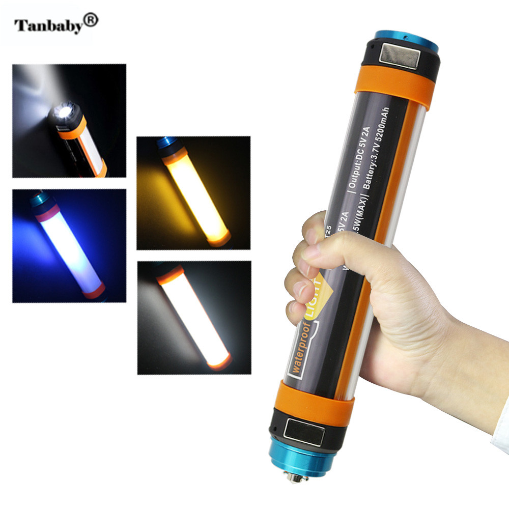 Portable Outdoor Camping Flashlight IP68 Waterproof Rechargeable Battery Powerbank SOS Emergency Led Light 6 Mode DA