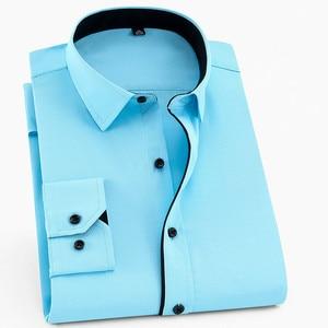 Image 1 - Camisa para hombre de talla grande 6XL, 5XL, 4XL, 3XL, moda de ocio, camisas de vestir de retales lisas, camisas de negocios de sarga para boda Social