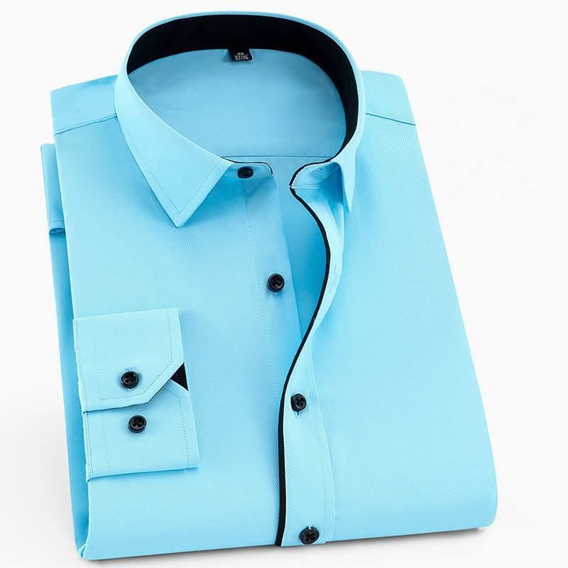 Large Size 6XL 5XL 4XL 3XL Fashion Men's Shirt Brand Leisure Solid Dress Shirts Patchwork Twill Business Social Wedding Shirts