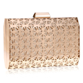 Metal women evening bags hollow out fashion small purse day clutches wallets gold/silver/black tin evening bags