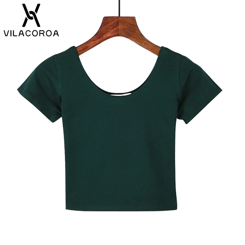 VILACOROA Best Sell Harajuku U Neck Women's T-shirt Sexy Black Short Sleeve Crop Top Stretch Women's Shirt Tee Tops ropa mujer 2