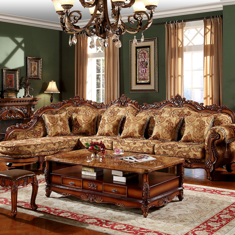 Traditional Sofas Living Room Furniture: (1+3+lounge /lot )traditional Sectional Sofa For Hotel