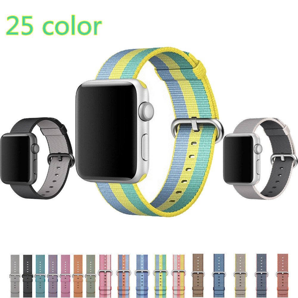 Woven nylon strap For apple watch band 42 mm 38 mm sport wrist bracelet watchband for iwatch Series 3/2/1 men & women watch belt band for apple watch pink stripes woven nylon fabric buckle watchband 38mm 42mm sport strap for iwatch 2 watches accessories