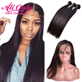 360 Frontal Closure With Bundles Indian Virgin Hair Straight 3 Bundles With Closure Pre Plucked 360 Lace Frontal With Bundles