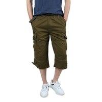 Summer Men S Casual Baggy Multi Pocket Short Hot Male Long Army Green Khaki Men Tactical