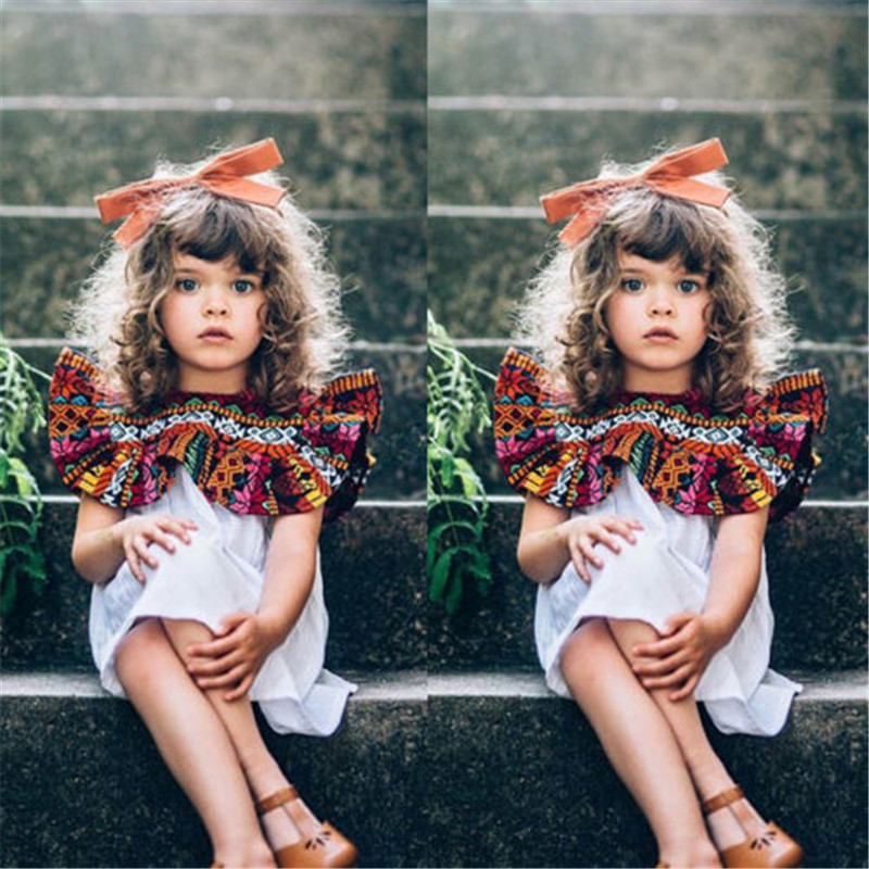 Kids Baby Girls Toddler Clothes Sleeveless Round Neck Geometry Boho Ruffles Newborn Princess Party Cotton Dresses One Pieces