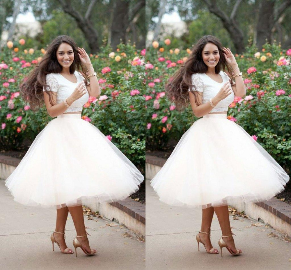 US $84.15 15% OFF|Plus Size Summer short wedding dress 2 piece Tulle White  mid calf Puffy wedding gowns short sleeve Formal Skirt Maxi Skirt-in ...