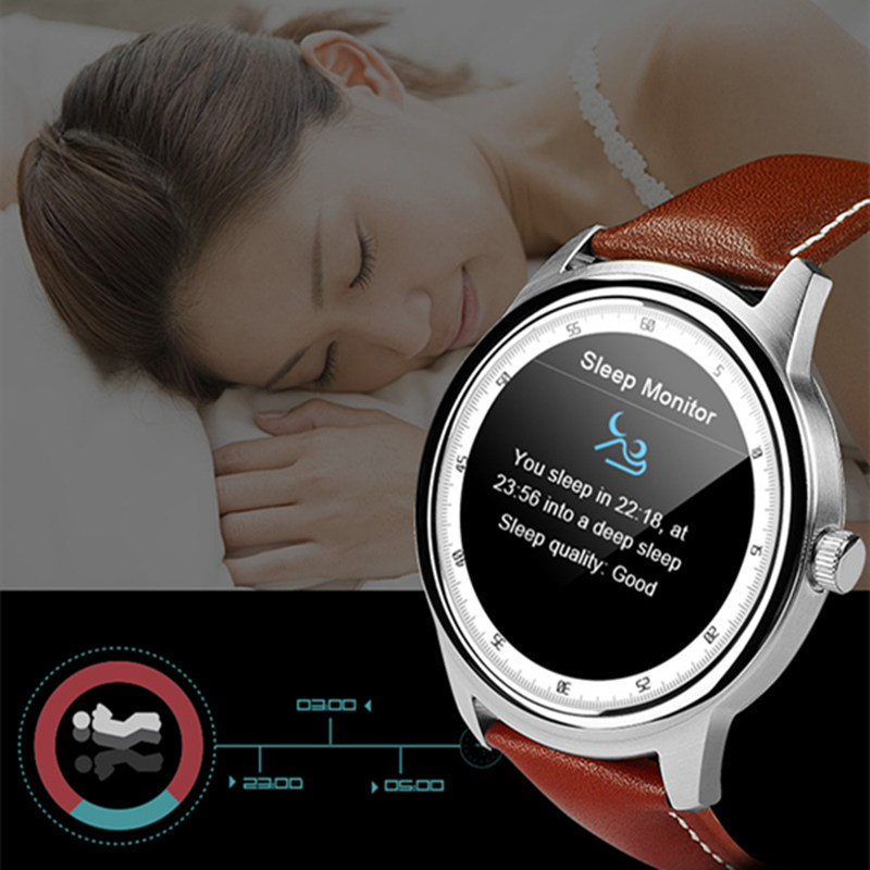 DM365 Bluetooth 4.0 Smart Watch 360*360 IPS full view & Leather Strap Pedometer Sleep Monitor Support IOS&android