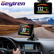 GEYIREN Newest P16 OBD Head Up Display speedmeter Windscreen Projector II EUOBD smart digital Computer LED universal