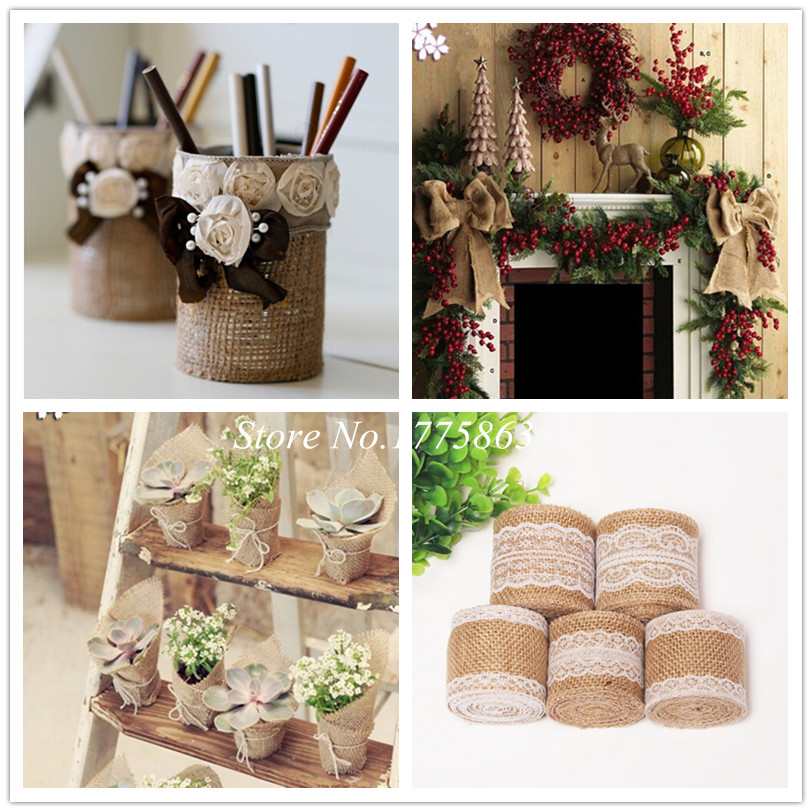 2m Jute Burlap Hessian Ribbon with Lace Trim Tape Roll Vintage Rustic Christmas Wedding Decoration Craft DIY Gift Packing AA8032