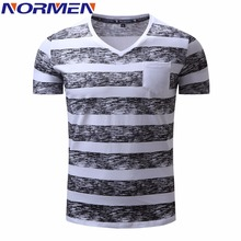 NORMEN Men's T-Shirts  Fashion Striped V-Neck Cotton EUR Size Top Grade Tee Shirt Men Hip Hop Streetwear Plus Size T Shirt Men