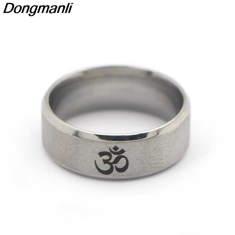 P1800 Dongmanli 2018 New Punk Style 316L Stainless Steel Men's India OM Yoga Motor Biker Ring Silver Black Vintage Jewelry Gifts