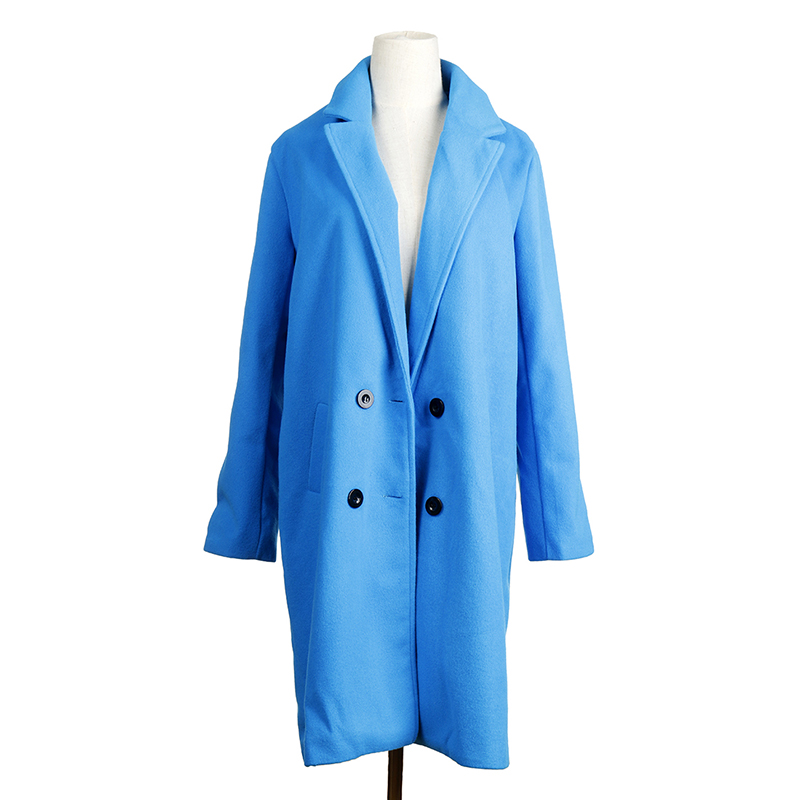 2018 New Women Long Sleeve Turn-Down Collar Outwear Jacket Wool Blend Coat Casual Autumn Winter Elegant Overcoat Loose Plus Size