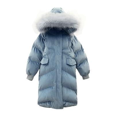 OLGITUM 2018 Winter Coat Women Gold Velvet Jacket For Woman Slim Hooded Coat Long Parka Big Fur Collar Thick Warm Overcoat CC574