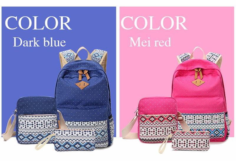 Canvas Printing Backpack Women School Bags for Teenage Girls Cute Bookbags Laptop Backpacks Female Bagpack 3 Piece one Set 5