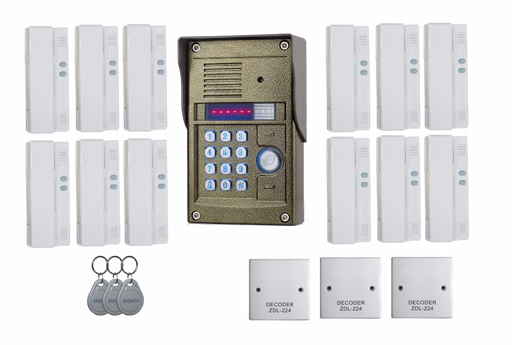2016 New arrival audio Door Bell intercom door phone for 12 users apartment, RFID panel audio door phone
