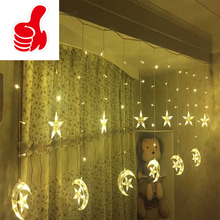 2.5M 220V EU Plug Christmas LED Star and Moon Curtains Lights Indoor / Outdoor Wedding Decoration light For Party Holiday