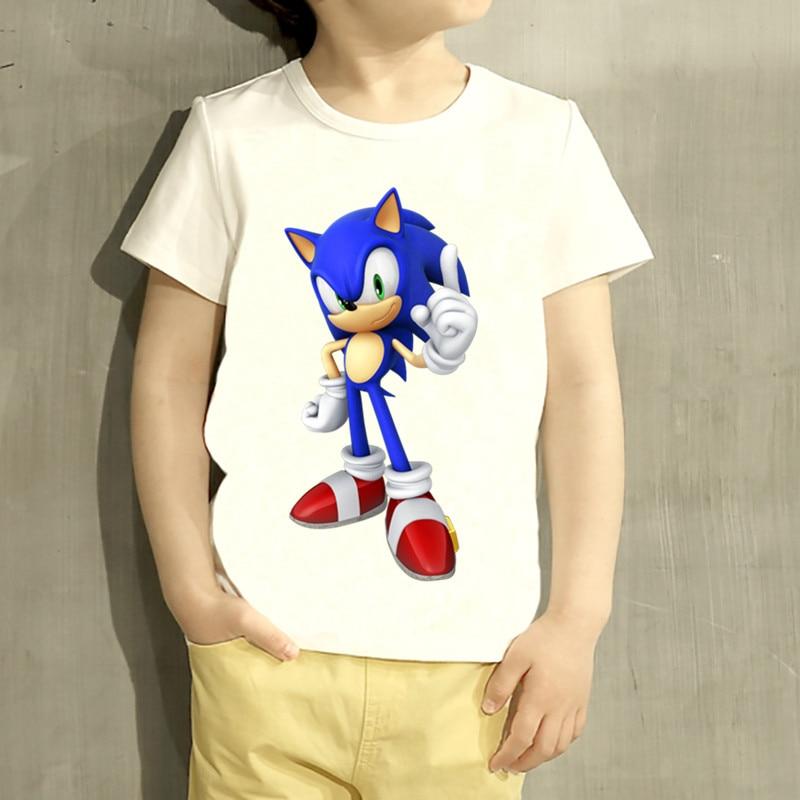 Kids Sonic The Hedgehog Cartoon Design T Shirt Boys/Girls Great Casual Short Sleeve Tops Children Cute T-Shirt,HKP5136 geo print short sleeve t shirt