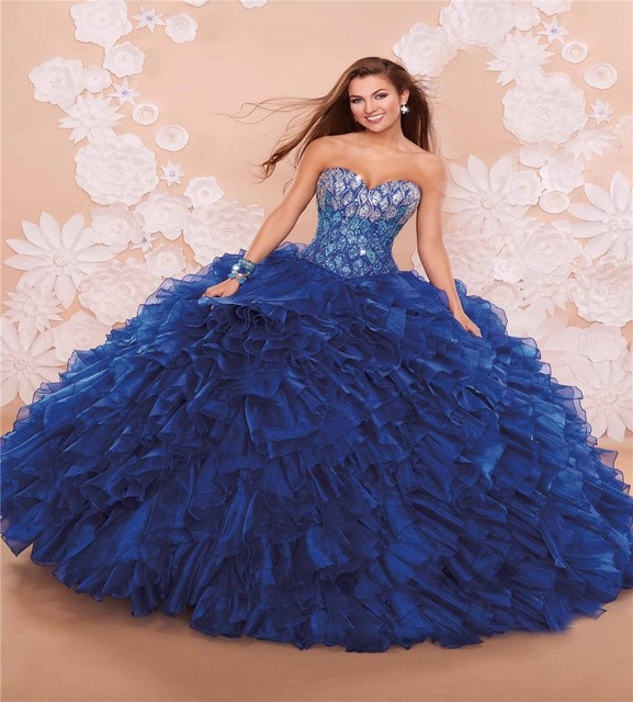 127117cca Trajes De Quinceaneras 2016 Custom Made Navy Blue Organza Beading Sequined  Ruffles Ball Gown Quinceanera Dress Prom Gown