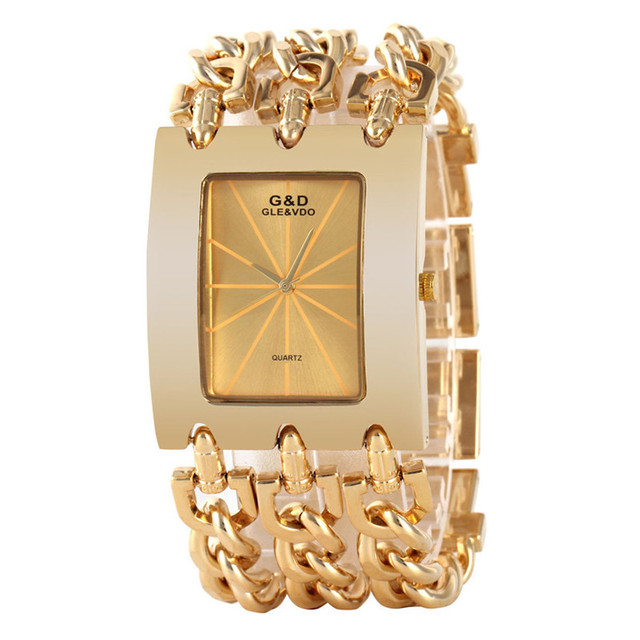 GLE&VDO Fashion Relogio Feminino Dourado Women Girl Bracelet Watch Orologio Quartz Wristatches Gift Box Free Ship