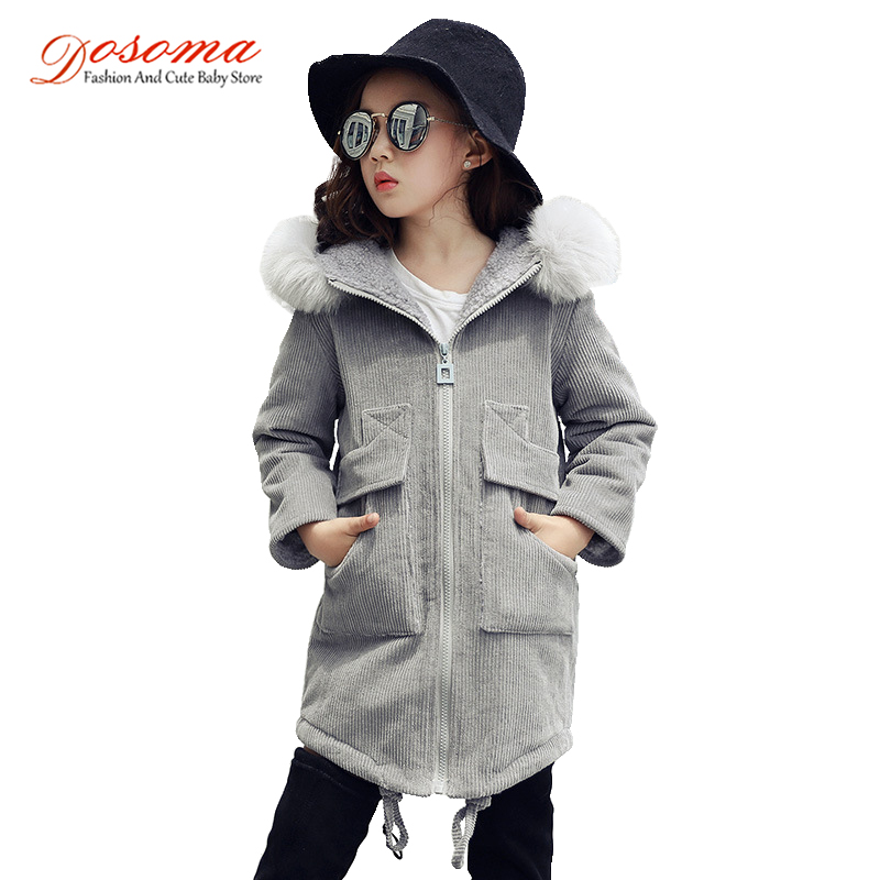Dosoma corduroy windbreaker for girls fashion winter thicker long coats hooded with detachable fur collar kids warm outerwears european new women winter down cotton lengthened coats fashion print hooded fur collar thicker plus size slim jacket okxgnz a917