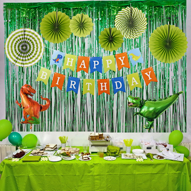 Creative Tropical Rainforest Small Dinosaur Boys Green Birthday Party Decoration Letter Banner Jungle Accessories