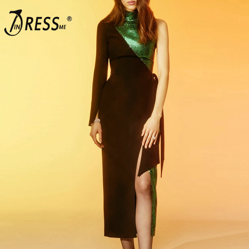 INDRESSME Women New Fashion Sexy Stand Neck Asymmetrical Long Sleeve Bodycon Dress With Belt Mid Calf