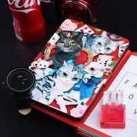 Kandouren-чехол для Amazon Kindle Paperwhite, Kindle Вояж, основной Kindle 2016, уникальный арт-дизайн тонкий чехол, Синее и красное Cat