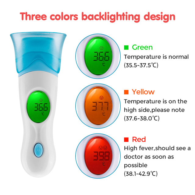 Guucy Baby Adult Infrared Thermometer Electronic IR Digital LCD Non-Contact Fever Gun Forehead Ear Temperature Measurement