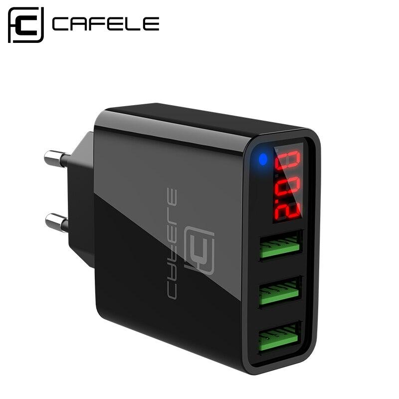 Cafele Carregador USB Display LED Carregador de 3 Portas USB UE/EUA Plug Carregador USB 2A Máximo Total de Saída DC 5 V 3A USB Carregador De Parede