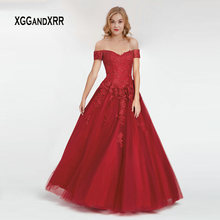 XGGandXRR Elegant Burgundy Long Prom Dress 2019 gala jurken