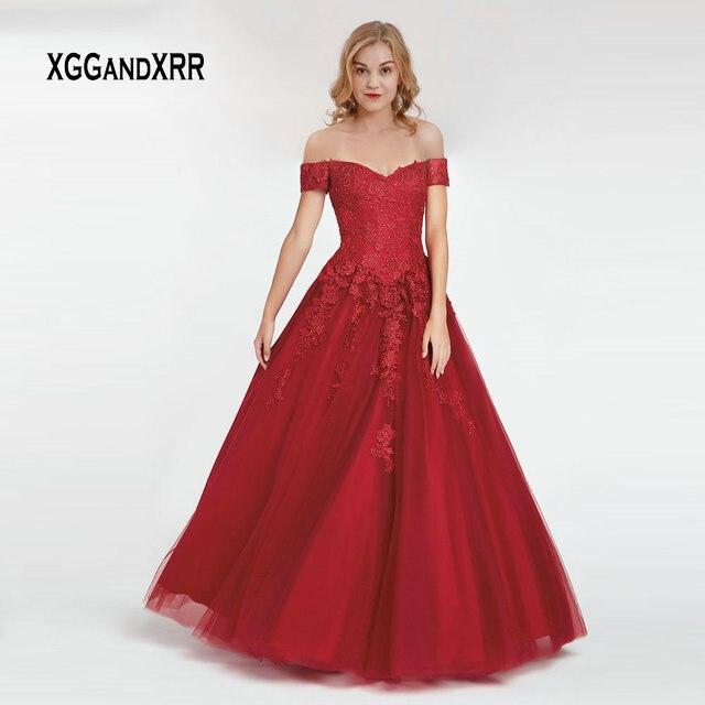 Elegant Burgundy Long Prom Dress 2019 gala jurken Sweetheart Off Shoulder Lace Applique Beading Lace up Back Fluffy Skirt Gown
