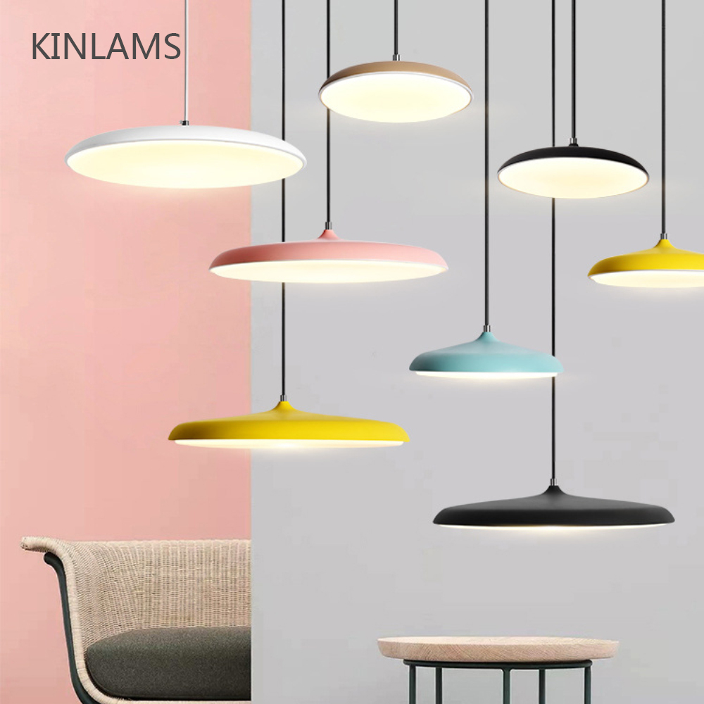Nordic Colorful Simple Led Pendant Light UFO Round Plate Suspension Lamp Dining Living Room Bar Hotel Flying Saucer Hanging Lamp
