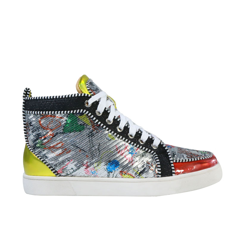 Svonces Brand Multicolor Graffiti Men Sneakers Red Patent Bling Sequins  Casual Shoes Men High Top Sneakers Bottom Baskets Homme -in Men s Casual  Shoes from ... a2f2a91307e2