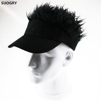SUOGRY Hot New Fashion Novelty Baseball Cap Fake Flair Hair Sun Visor Hats Men S Women