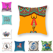 Exotic Mandala Ethnic Style Cushion Cover African Female Elephant Pattern Indian Hug Pillowcase Bohemian Home Pillow Case
