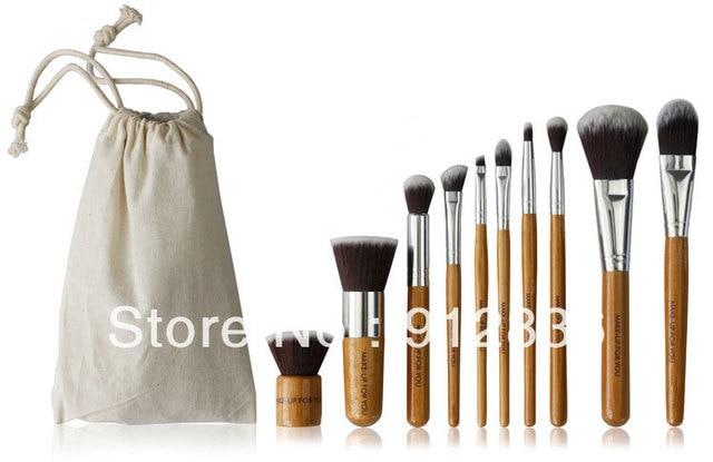 10 Pcs Makeup Brushes For Face&Eyes Natural Green Bamboo Handle Series Eyeshadow Brush Sixplus