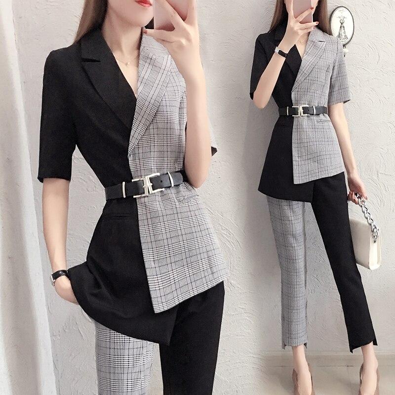 2019 Frühling Neue Koreanische Rosa Anzug Top Fashion Lange Koreanische Version Lose Karierten Anzug Jacke Taste Kerb Zweireiher Plaid Frauen Kleidung & Zubehör