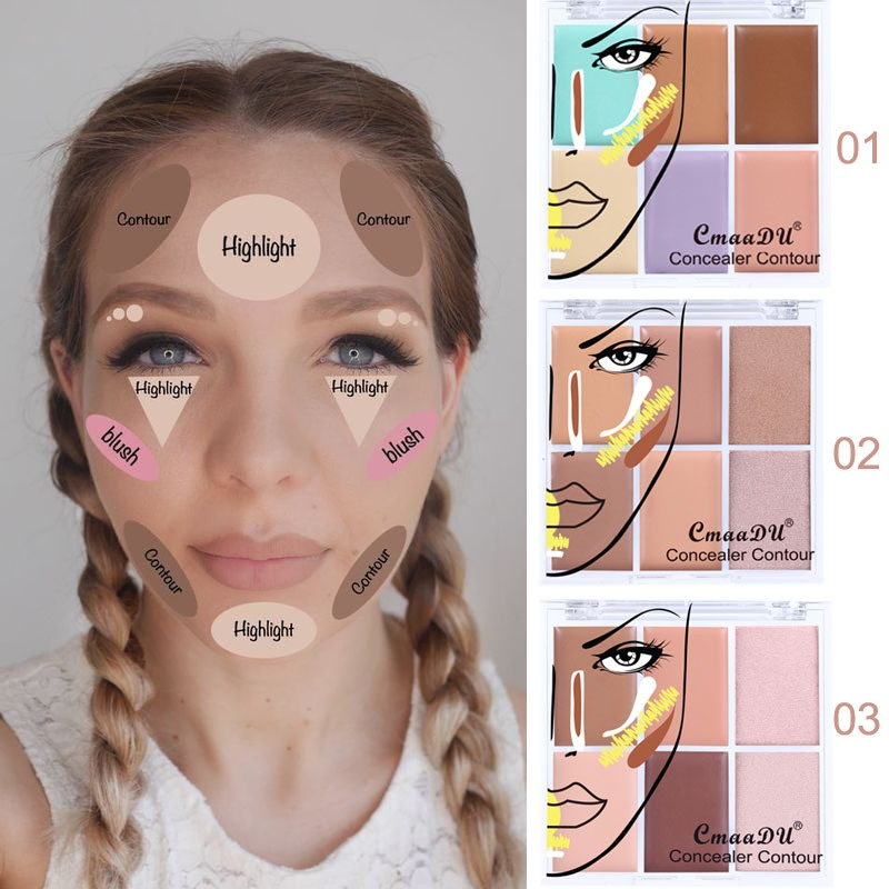 Makeup 6 Color Concealer For Dark Skin Full Cover Color Corrector Face Contour Cream Kit Concealer Palette image