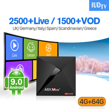 IPTV Spain Sweden Italy UK Germany IUDTV A5X Max+ Android 9.0 4G+64G BT Dual-Band WIFI Code 1 Year Subscription