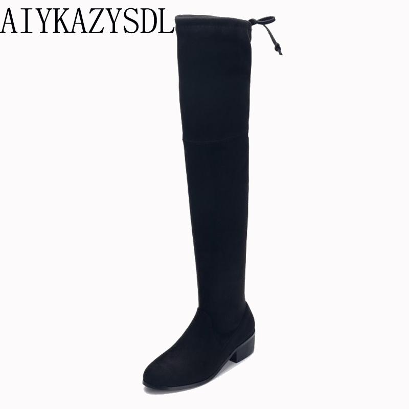 AIYKAZYSDL Autumn Winter Flock Stretch Boots Over The Knee Thigh High Plush Fleece Snow Boots Women Flat Square Low Heel Shoes yougolun women nubuck thigh high boots ladies autumn winter boots woman over the knee boots women 2017 square high heels shoes