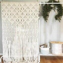 80*180cm czechy ręcznie tkana lina ściany wiszące makrama gobelin ręcznie kurtyny ślub domu okno ściana tła Craft w Dekoracyjne gobeliny od Dom i ogród na