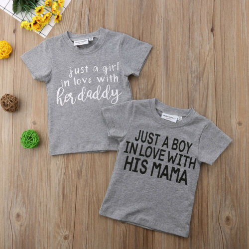 T-Shirts Tops Graphic Daddy Toddler Baby-Girl Mama Kids Love Boy Cotton Summer
