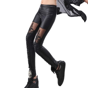 Women Leggings Gothic Mesh Design Black