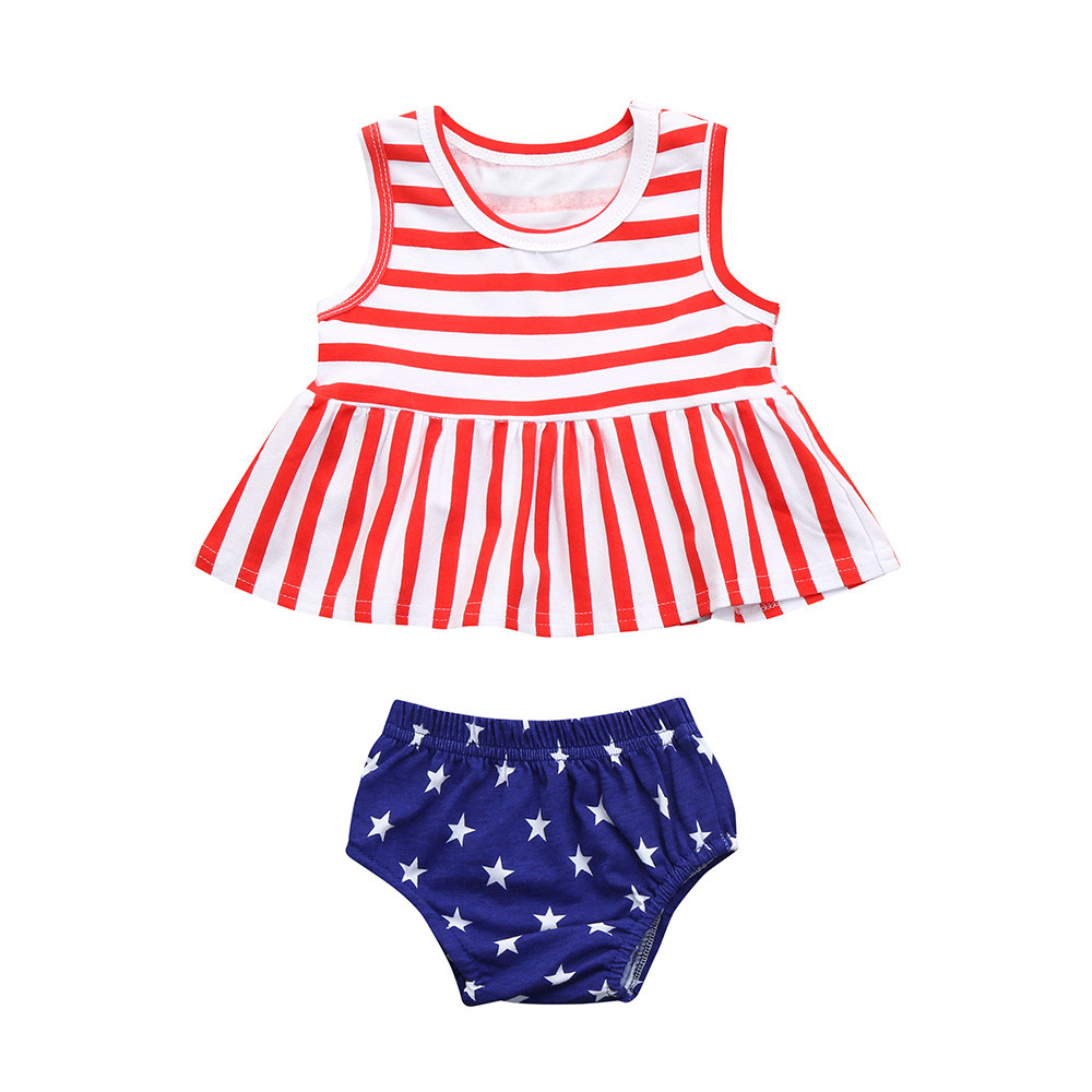 Newborn Infant Baby Girls 4th Of July Striped Stars Tops Vest Shorts Outfit Set